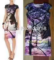 Free Shipping Women Elegant 3D print slim dress fashion mini evening dresses 3629
