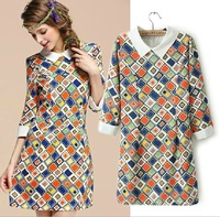 2014 New Arrival Fashion Ladies' Vintage doll collar lapel retro chiffon dress st002