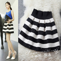 FREE SHIPPING Fashion 2014 women's classic horizontal stripe high waist puff skirt bust skirt short skirt all-match