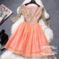 FREE SHIPPING Be a star 2014 cutout embroidery gauze patchwork clothing dress