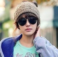 Free drop shipping Shopping topless twist wool cap knitted hat headband fashion ladies winter ski hat L060