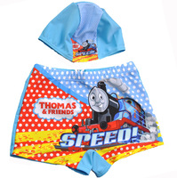 New 2014 good quality Hot sale Boys swimwear Children love cartoon UV-proof beach  swimwear kids pants and swim cap 4pieces/lot