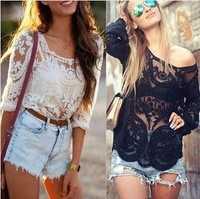 Ladies' lace blouses fashion embrodiery sheer sleeve hollow out tops for women floral crochet plus size blouses women S-XL