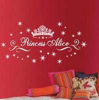 Princess large custom name removable wall decal home decor for girls room wall art