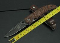 FREE SHIPPING NEW Wood Handle Sone Wash Blade Folding knife Z08
