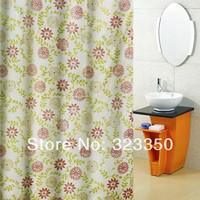 free shipping, polyester taffeta waterproof shower curtain,1.8m*2m flower printed shower curtain,polyester bath shade