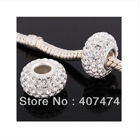 9*15mm Free Shipping Shamballa Spacer Bead Crystal Resin Globose Beads,Silver Plated Pave Rhinestone Balls your can choose color
