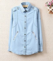 2014 New Arrival Fashion Ladies' pocket zipper cardigan epaulettes Denim shirt  st008