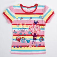 2014 Hot new Nova kids baby girls children clothing with cartoon summer short sleeve T-shirt for girls K4488#