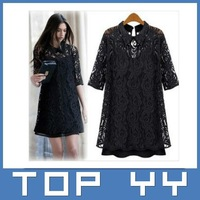 2014 free shipping Women Ladies Plus Size Sexy Cotton Casual Lace Dress For Spring and Autumn Promotion