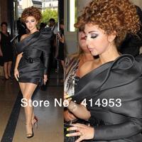 Myriam Fares Black Dresses 2014 Sexy One Shoulder Sheath Long Sleeves Red Carpet Short Bandage Celebrity Dresses