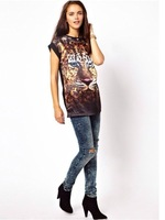 2014 New Arrival Fashion Ladies' Tiger head printing round neck short sleeve T-shirt  st010