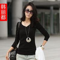 2012 autumn women's plus size clothing v-neck T-shirt long-sleeve basic shirt female 83007