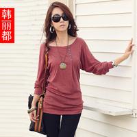 2014 spring women's batwing sleeve loose long-sleeve t-shirt Women medium-long t-shirt