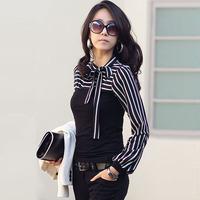 2014 women's spring slim t-shirt basic shirt bow t-shirt long-sleeve
