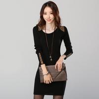 2013 autumn and winter slim skirt women's basic sweater dress slim skirt hip skirt long-sleeve dress