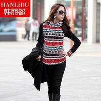 Autumn and winter 2013 women's top medium-long slim casual print t-shirt plus size basic long-sleeve shirt