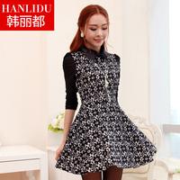 Women's 2013 autumn lace one-piece dress ol slim elegant long-sleeve basic autumn one-piece dress