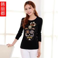 T-shirt female long-sleeve autumn women's slim skull women's white t shirt basic shirt