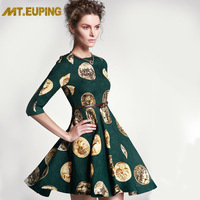 Mt . euping 2014 women's green jacquard half sleeve slim waist expansion bottom one-piece dress