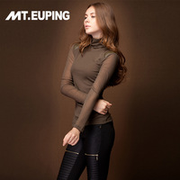 2014 spring turtleneck slim patchwork knitted gauze women's basic shirt long-sleeve T-shirt autumn and winter