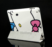 Free Shipping Cute Hello Kitty Flip Ultra Slim Foldable Stand Book Leather Cases Wake Sleep Cover For Apple ipad 2 3 4 Bag 08400