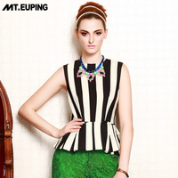 Mt . euping 2014 spring women's vertical stripe o-neck wave sweep sleeveless shirt