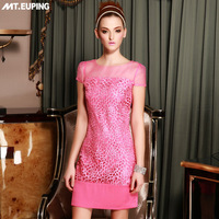 2014 spring women's gauze rose cutout flower water soluble organza lace short-sleeve dress slim