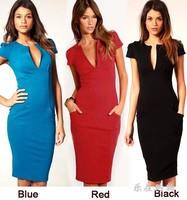 2014 Elegant Ladies' V-Neck Fashion Celebrity Pencil Dress,Women Wear Slim Knee-Length Pocket Party Bodycon Dress, Free Shipping