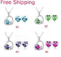 TZ-30 Hot selling Heart Crystal Jewelry Sets necklace +stud earrings Set Wedding Jewelry For Women Express Free Shipping