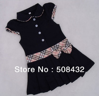 2014 new Children Fashion Princess Dress Plaid Print  Bow Waist Girls Brand Dresses 100%Cotton Kids Girl Tennis One-piece Dress