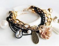 New style fashion temperament rhinestones multi-layer imitation-pearls flower women bracelet jewelry S5758