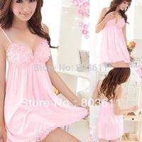 Women Ladies Hot Sexy Lingerie Sleepwear Set Babydoll Dress +G-string  pink lingerie cute lovely girl sleepwear