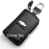 Black Leather Car Key Holder Case Bag Alloy Keychain For Chevrolet