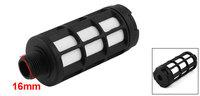 "16mm 3/8"" PT Male Thread Cylinder Pneumatic Silencer Muffler Noise Deadener Black"