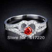 2014 New Arrival Fashion Full Rhineston Gem Stone Setting Loving Heart Shaped Women Rings Charms Free Shipping 12pcs/lot