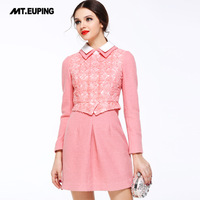 2014 spring women's faux two piece sweet embroidered woolen cutout long-sleeve dress