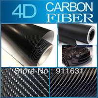 "Black 4D Carbon Fiber  10x152CM 4""x60""  4D Colored Glossy Carbon Fiber Vinyl Film/Auto Wrapping Vinyl Wrap Foil  Free Shipping"