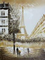 Oil paintings Modern Brown European Street  Eiffel Tower art hand-painted Wall decor