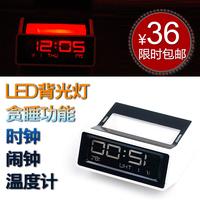 Car car vehicle electronic table electronic clock led lcd luminous clock multifunctional belt thermometer
