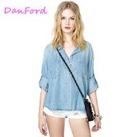 Women Jeans Blue Pocket Shirts Blouses For Women DF-00113