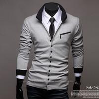 2014 year men's fashion collar cardigan sweater men's thin sweater coat free shipping