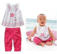 Retail 2pcs/set new style 2014 summer fashion girls clothes print T-shirt + cotton kids pants baby clothing set free shipping