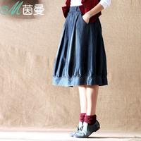Inman 2014 spring female water wash denim sweep all-match 8411100370 bust skirt