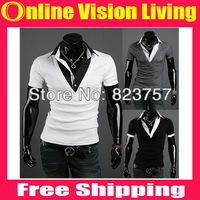 Free Shipping!New 2014 Summer Men's Fashion Casual T-shirt.Best Quality Collar Fashion Short Sleeve Tee.Wholesale&Retail A141