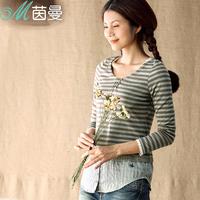 Inman 2014 spring basic stripe shirt cotton 100% faux two piece long-sleeve T-shirt female