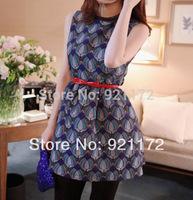 2014 spring and summer women's fashion vintage decorative pattern print slim sleeveless vest one-piece dress