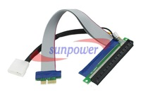 50pcs/lot, PCI-E 1X 16X Flexible Extension Cable PCI Express Extender Riser 25cm with Power Cable for Bitcoin Miner