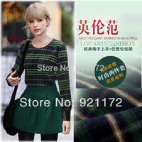 Spring 2014 new fashion plaid top green short skirt set