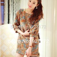 2014 sweet elegant puff sleeve dress long-sleeve basic half sleeve separate